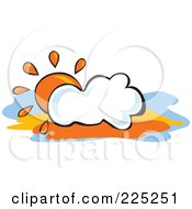 Royalty Free RF Clipart Illustration Of An Orange Sun Behind A Puffy White Cloud