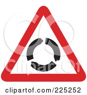 Royalty Free RF Clipart Illustration Of A Red And White Roundabout Triangle Sign