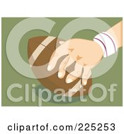Royalty Free RF Clipart Illustration Of A Hand Completing A Touch Down With A Football by Prawny