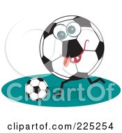 Royalty Free RF Clipart Illustration Of A Soccer Ball Character Kicking A Ball by Prawny