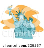 Royalty Free RF Clipart Illustration Of A Blue Statue Of Liberty
