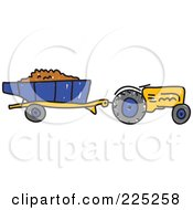 Royalty Free RF Clipart Illustration Of A Working Yellow Sketched Tractor
