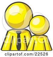 Clipart Illustration Of A Yellow Child Or Employee Standing Beside A Bigger Blue Businessman Symbolizing Management Parenting Or Mentoring by Leo Blanchette