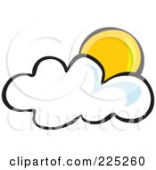Royalty Free RF Clipart Illustration Of A Yellow Sun Behind A Puffy White Cloud