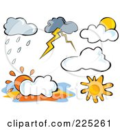 Royalty Free RF Clipart Illustration Of A Digital Collage Of Weather Clouds And Suns by Prawny