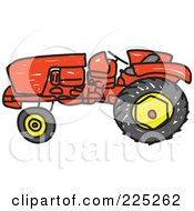 Royalty Free RF Clipart Illustration Of A Red Sketched Tractor