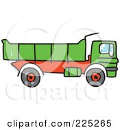 Royalty Free RF Clipart Illustration Of A Sketched Green Tipper Dump Truck by Prawny