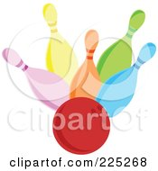 Royalty Free RF Clipart Illustration Of A Red Bowling Ball Hitting Colorful Pins by Prawny