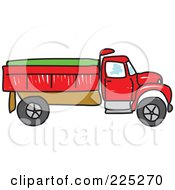 Royalty Free RF Clipart Illustration Of A Sketched Red And Green Tipper Dump Truck by Prawny