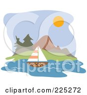 Royalty Free RF Clipart Illustration Of A Lone Sailboat By A Coast