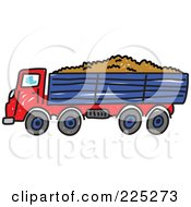Royalty Free RF Clipart Illustration Of A Sketched Red And Blue Tipper Dump Truck by Prawny