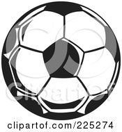 Royalty Free RF Clipart Illustration Of A Black And White Soccer Ball by Prawny