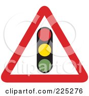 Royalty Free RF Clipart Illustration Of A Red And White Traffic Light Triangle Sign by Prawny