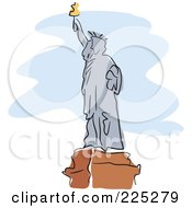 Royalty Free RF Clipart Illustration Of A Gray Statue Of Liberty