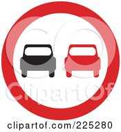 Royalty Free RF Clipart Illustration Of A Red And White Round Car Sign by Prawny