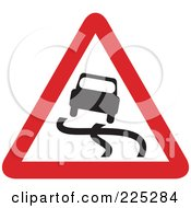 Royalty Free RF Clipart Illustration Of A Red And White Slippery Road Triangle Sign by Prawny
