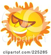 Royalty Free RF Clipart Illustration Of A Laughing Sun Wearing Shades