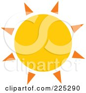 Royalty Free RF Clipart Illustration Of A Yellow Sun With Orange Spikes
