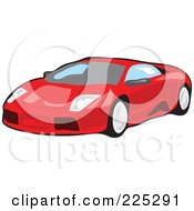 Royalty Free RF Clipart Illustration Of A Red Sports Car