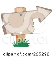 Royalty Free RF Clipart Illustration Of A Wooden Arrow Sign Pointing To The Right