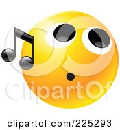 Royalty Free RF Clipart Illustration Of A Yellow Smiley Face Whistling With A Black Music Note by Tonis Pan