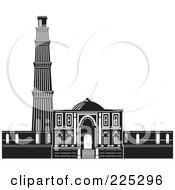 Royalty Free RF Clipart Illustration Of The Qutb Minar In Black And White