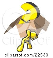 Yellow Man Carrying A Heavy Question Mark In A Box