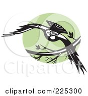 Royalty Free RF Clipart Illustration Of A Flying Raven And Green Circle Logo by patrimonio