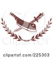 Royalty Free RF Clipart Illustration Of A Retro Butcher Knife And Sharpener Logo With A Laurel by patrimonio #COLLC225303-0113