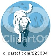 Royalty Free RF Clipart Illustration Of A Blue Hunting Retriever Dog Logo
