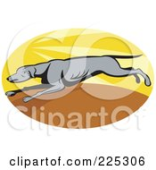 Royalty Free RF Clipart Illustration Of An Oval Running Greyhound Logo by patrimonio