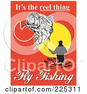 Royalty Free RF Clipart Illustration Of Its The Reel Thing Fly Fishing Text Around A Fly Fisherman On Red