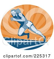 Royalty Free RF Clipart Illustration Of A Blue Runner On A Track At Sunrise Logo
