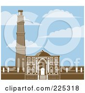 Royalty Free RF Clipart Illustration Of The Qutb Minar In Retro Brown Under A Blue Sky With Clouds by patrimonio