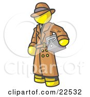 Clipart Illustration Of A Secretive Yellow Man In A Trench Coat And Hat Carrying A Box With A Question Mark On It