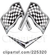 Retro Racing Flags Over A Chevron Symbol