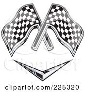 Royalty Free RF Clipart Illustration Of A Retro Racing Flags Over A Chevron Symbol by patrimonio