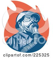 Royalty Free RF Clipart Illustration Of A Retro Fireman Wearing A Gas Mask Over Red Flames by patrimonio