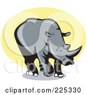 Royalty Free RF Clipart Illustration Of A Rhino Over Yellow Logo by patrimonio