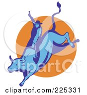 Royalty Free RF Clipart Illustration Of A Blue Bull And Cowboy Rodeo Logo