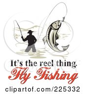 Royalty Free RF Clipart Illustration Of Its The Reel Thing Fly Fishing Text Around A Fly Fisherman On White