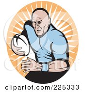 Royalty Free RF Clipart Illustration Of A Retro Rugby Football Player Logo 4