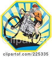 Royalty Free RF Clipart Illustration Of A Bicyclist Riding A V8 Engine Bike Over An Octogan Of Rays by patrimonio