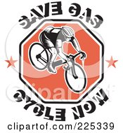 Royalty Free RF Clipart Illustration Of Save Gas Cycle Now Text Around A Bicyclist On A Red Octagon by patrimonio