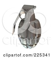 Royalty Free RF Clipart Illustration Of A 3d Silver Grenade by patrimonio