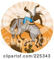 Royalty Free RF Clipart Illustration Of A Retro Bull And Cowboy Rodeo Logo