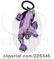Royalty Free RF Clipart Illustration Of A Prowling Panther And Oval Logo