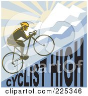 Royalty Free RF Clipart Illustration Of A Bicyclist Riding Up A Cyclist High Hillside