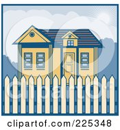 Royalty Free RF Clipart Illustration Of A Retro Styled House With A Picket Fence by patrimonio