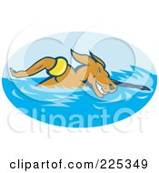 Royalty Free RF Clipart Illustration Of A Dog Swimming Logo